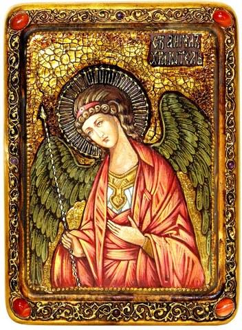 Инкрустированная живописная икона Ангел Хранитель 29х21см на натуральном кипарисе в подарочной коробке