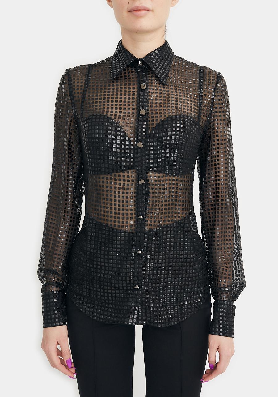 Рубашка черная с пайетками
