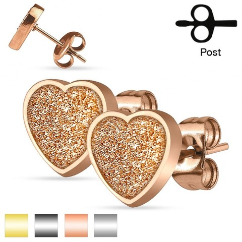 Оригинальные красивые стильные серьги-гвоздики женские с алмазным блеском из ювелирной стали под розовое золото 316L SPIKES SEZHT-RD