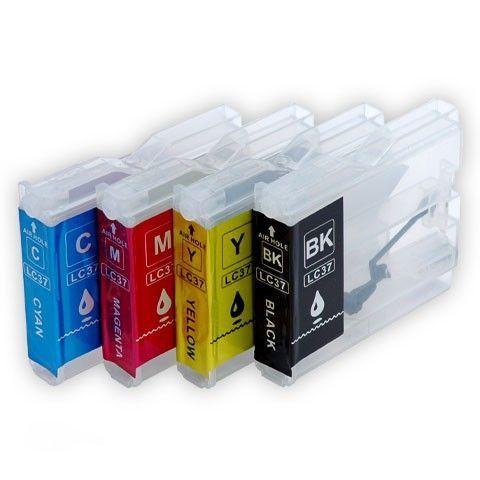 Заправляемые картриджи Brother LC37, LC1000, LC970, LC960, LC57, LC51. Комплект 4 штуки