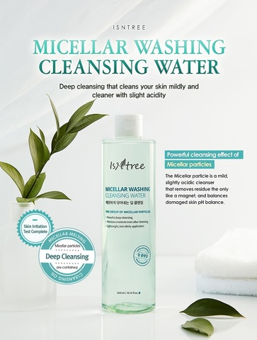 Мицеллярная очищающая вода для снятия макияжа, 300 мл / Isntree Micellar Washing Cleansing Water