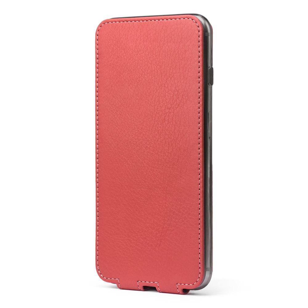 Чехол для iPhone 8 Plus из натуральной кожи теленка, кораллового цвета