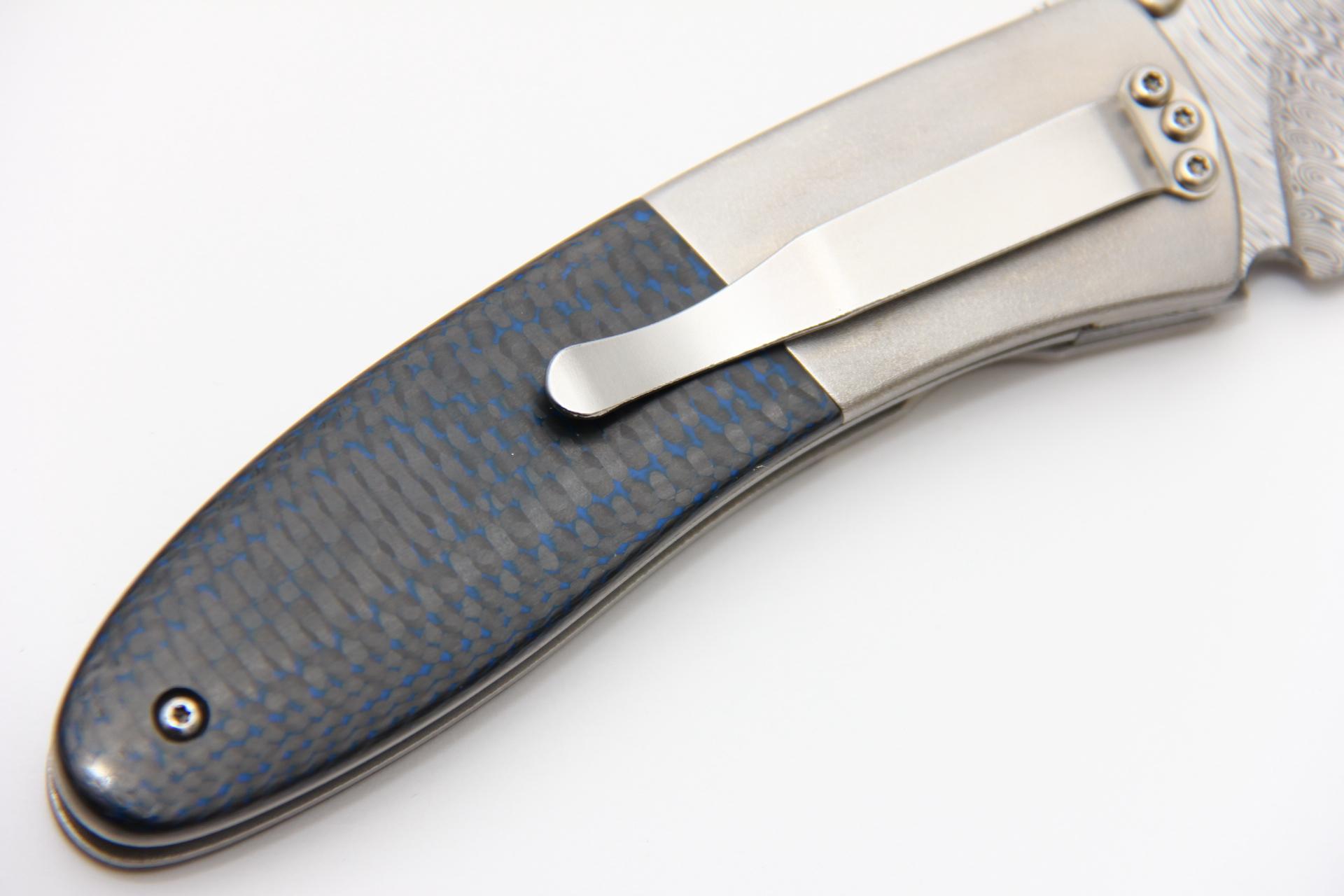 Нож Буди Вэстона Дамаск карбон синий Buddy Weston custom