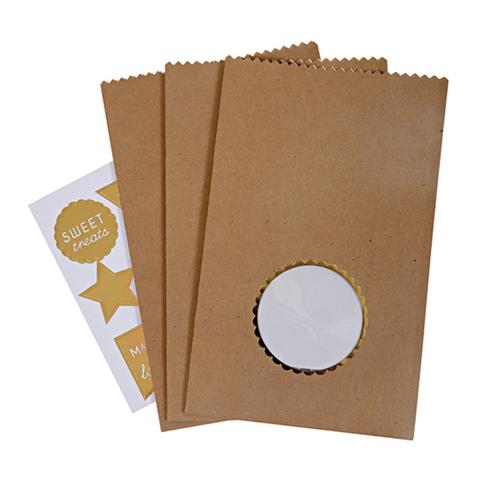 Подарочные пакеты для угощений со стикерами