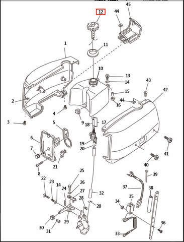 Крышка горловины бака   для лодочного мотора T2,5 SEA-PRO (1-12)