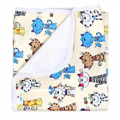 Непромокаемая пеленка GlorYes! Коты на бежевом 80х68 см