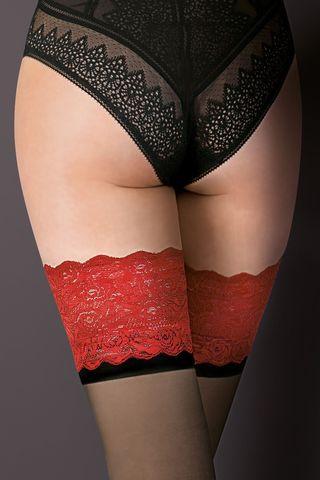 Чулки черного цвета Victoria с красной ажурной резинкой на силиконе и черной полосой под ней фото
