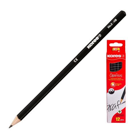 Карандаш чернографитный KORES трехгранный HB без ластика 92301