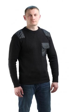 Джемпер п/ш форменный черный с накладками