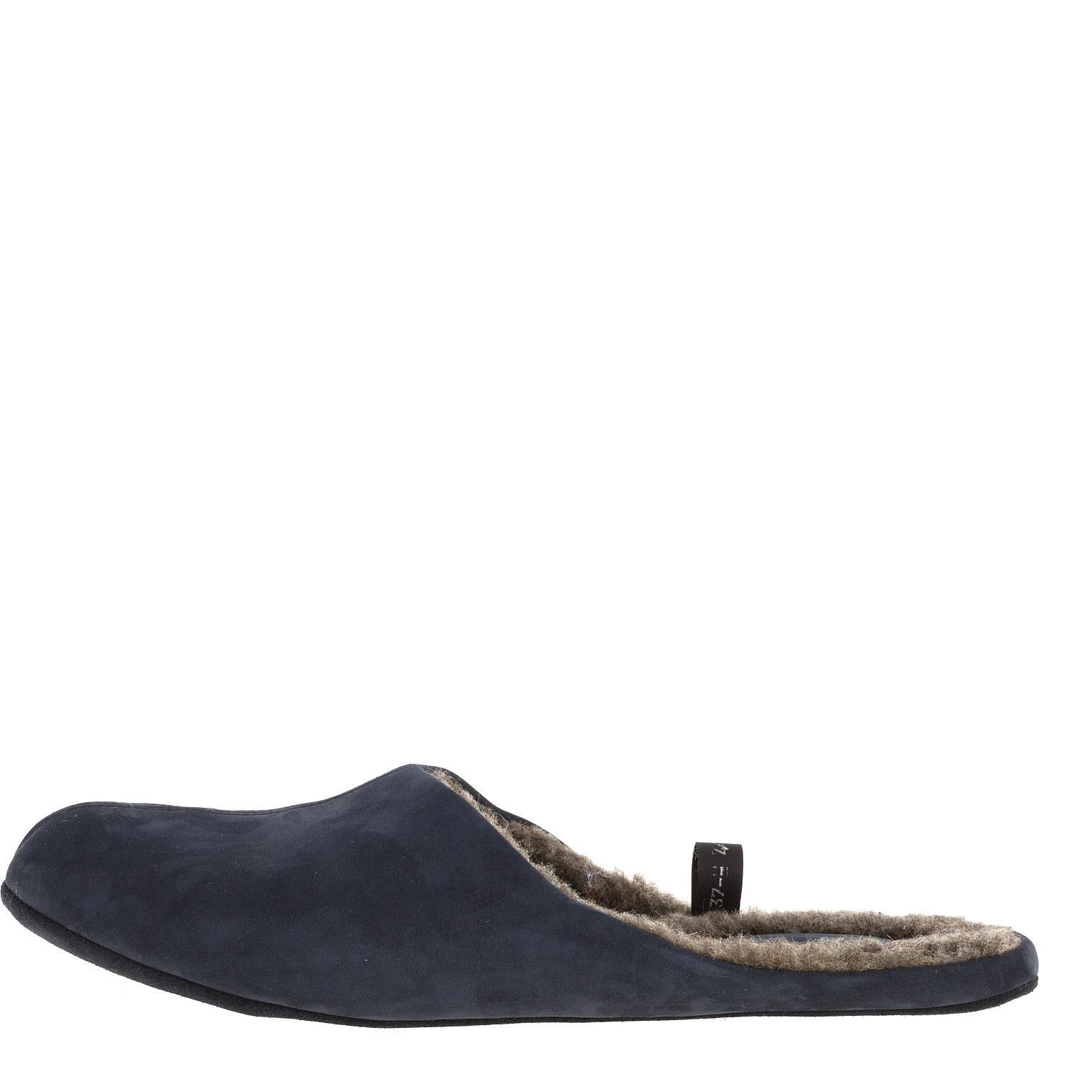 777137 туфли домашние мужские синие шерсть больших размеров марки Делфино