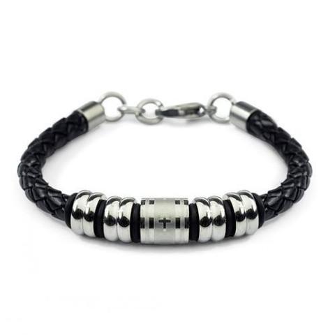 Мужской чёрный браслет из плетёной кожи с бусинами шармами из стали Steelman mn00079