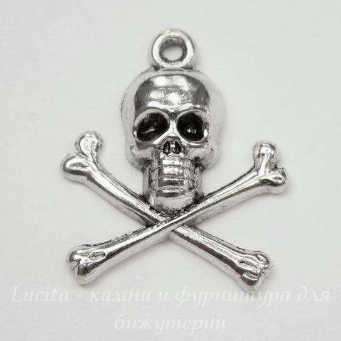 """Подвеска """"Череп с костями"""" 24х21мм (цвет - античное серебро)"""