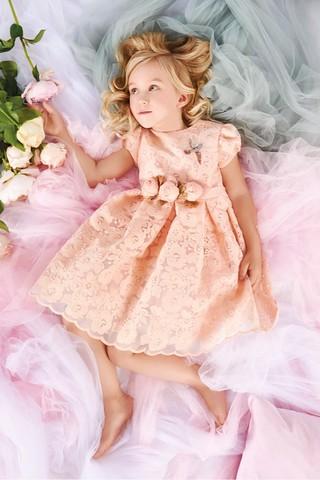 Персиковое ажурное платье с розами (арт.04.03)