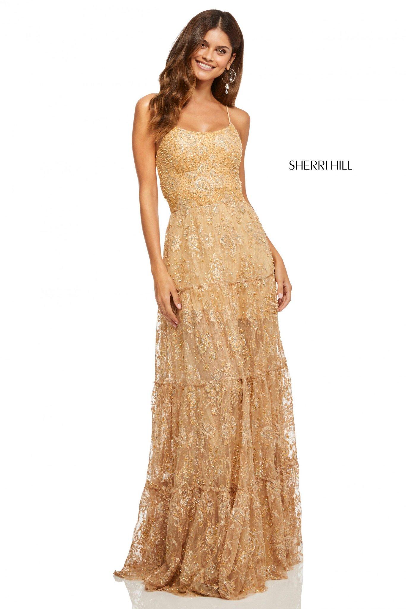 Sherri Hill 52675 Платье из струящейся ткани,длинное, кружевное