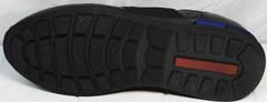 Кроссовки черные кожаные мужские Luciano Bellini 1087 All Black