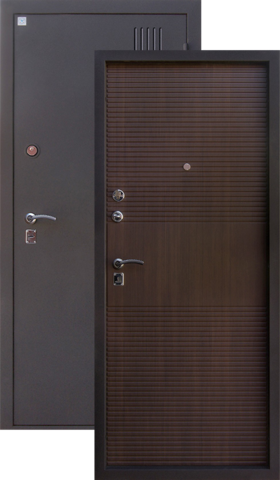 Сейф-дверь Алмаз Сапфир 2, 2 замка, 1,5 мм  металл (медь антик+венге)