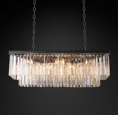 1920s Odeon Clear Glass Fringe Rectangular Chandelier 40