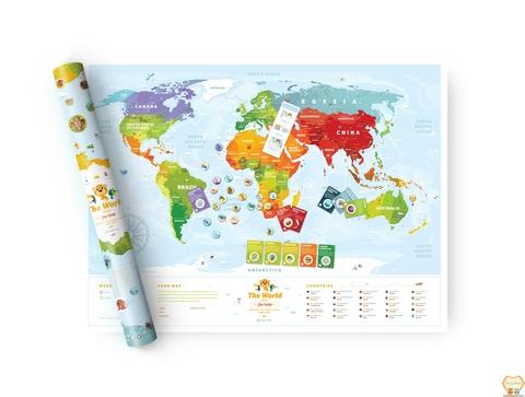 """Скретч карта мира """"Travel Map Kids Animals"""" (рассчитана на деток 4-8 лет)"""