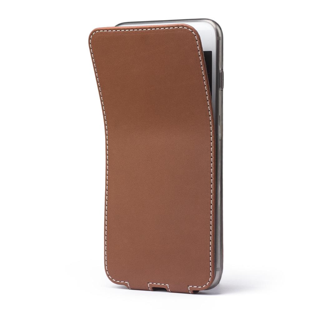 Чехол для iPhone 8 Plus из натуральной кожи теленка, коричневого цвета