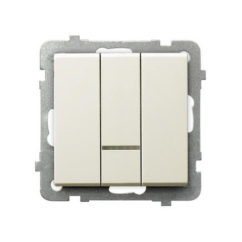 Выключатель трёхклавишный с подсветкой. Цвет Бежевый. Ospel. Sonata. LP-13RS/m/27