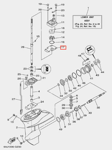 Зеркало помпы для лодочного мотора F20 Sea-PRO (23-17)