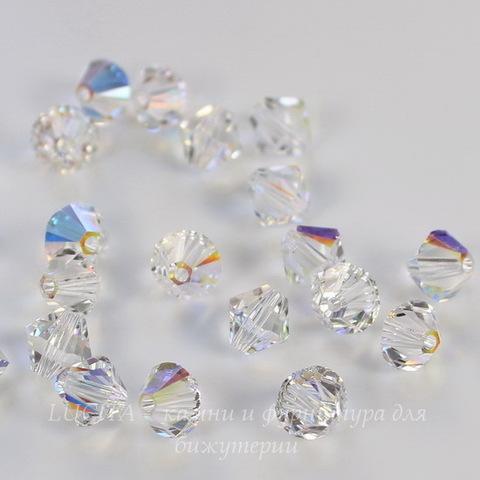 5328 Бусина - биконус Сваровски Crystal AB 3 мм, 10 штук (4 мм)