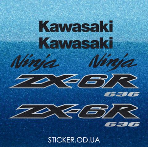 Набор виниловых наклеек на мотоцикл KAWASAKI ZX-6R 2004