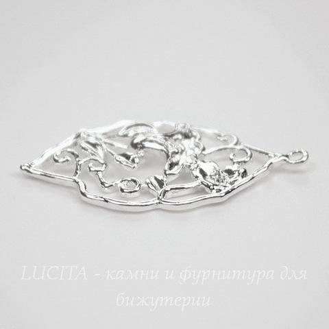 """Подвеска """"Цветы"""" (цвет - серебро) 34х20 мм"""
