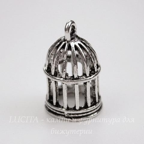 """Подвеска """"Птичья клетка""""   (цвет - античное серебро) 23х15х15мм"""