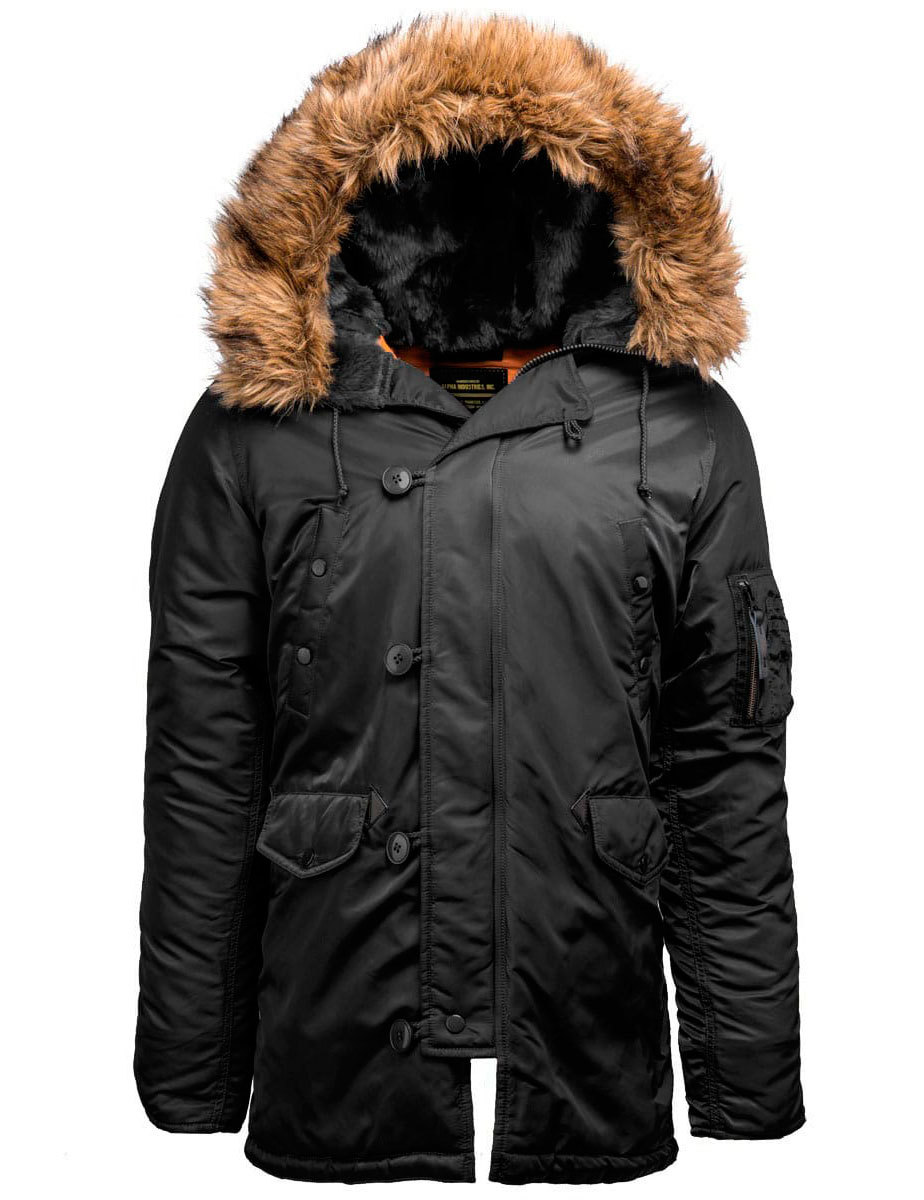 Куртка Аляска Alpha Slim Fit N-3B (черная - black/orange)