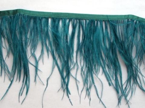 Тесьма  из перьев страуса h 10-15 см.,  морская волна
