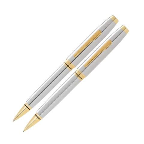 Набор Cross Coventry: шариковая ручка и механический карандаш 0.7мм. Цвет - серебристый.