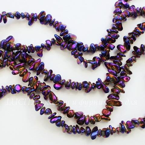 Бусина Кварц (тониров), крошка, цвет - бензиновый, 6-12 мм, нить
