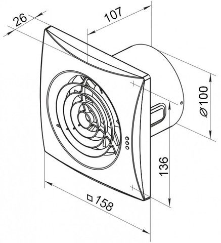 Вентилятор накладной Vents 125 Quiet T (таймер)