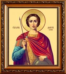 Димитрий Солунский Мироточивый великомученик. Икона на холсте.