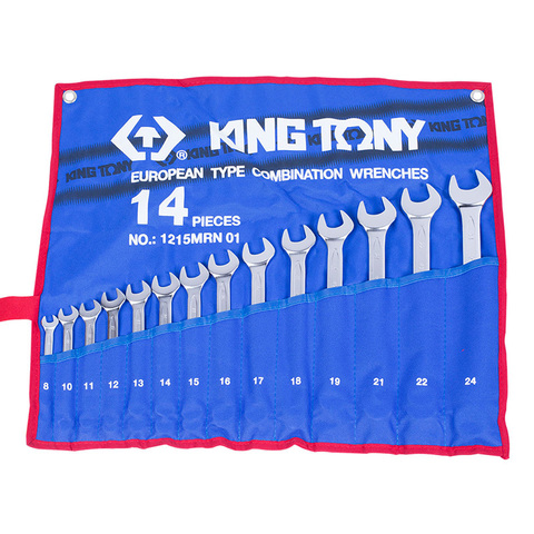 KING TONY (1215MRN01) Набор комбинированных ключей, 8-24 мм, 14 предметов