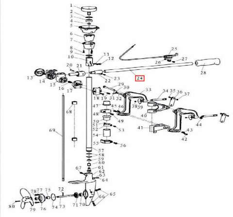 Штанга румпеля 19×540×1.2 для лодочного мотора T3,5 Sea-PRO