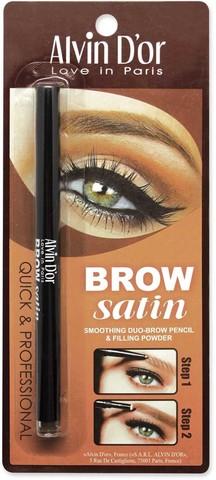 Alvin D`or  Дуэт д/бровей карандаш+пудра Brow Satin (тон 02 dark brown) P-5