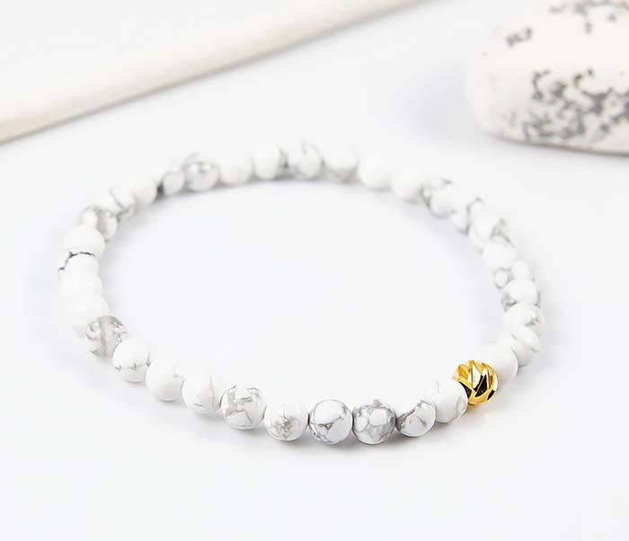 Boroda Design, Мужской белый браслет из натурального камня кахолонга