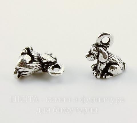 """Подвеска TierraCast """"Щенок"""" 3D (цвет-античное серебро) 10х9 мм"""