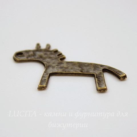 """Подвеска  """"Лошадка"""" (цвет - античная бронза) 28х19 мм"""