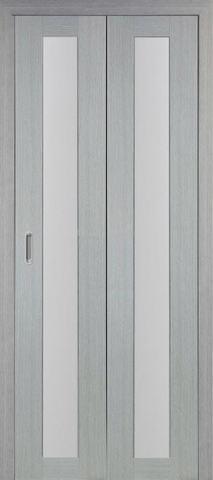 > Экошпон складная Optima Porte Турин 501.2  (2 полотна), стекло матовое, цвет дуб серый, остекленная