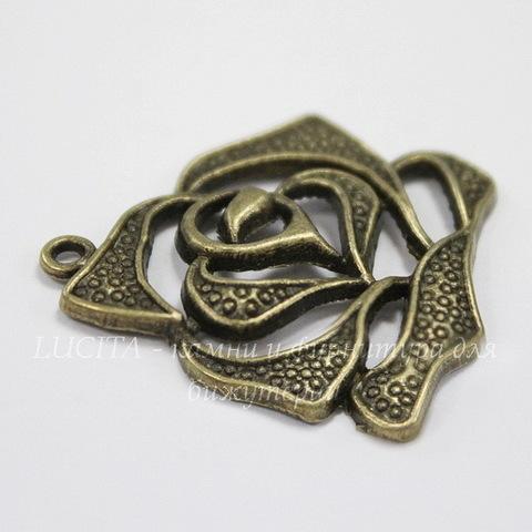 """Подвеска """"Роза"""" 28х26 мм (цвет - античная бронза)"""