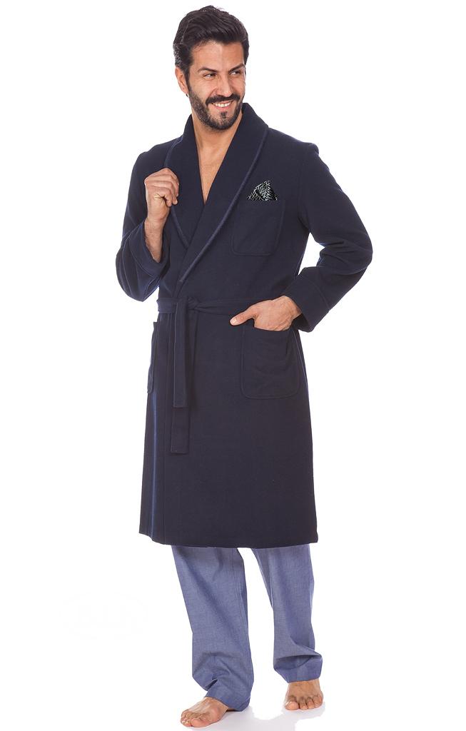 Шерстяной мужской халат c кашемиром B&B (Мужские халаты)