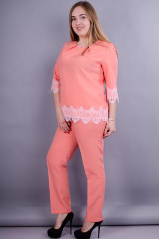 Тей. Ніжний костюм для жінок плюс сайз. Персик.