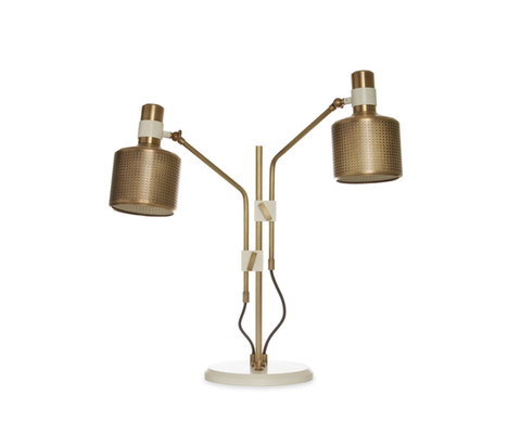 replica Bert Frank Riddle Table Lamp White & Brass