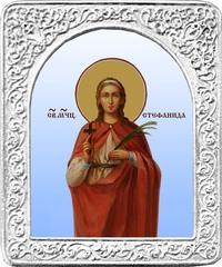Святая Стефанида. Маленькая икона в серебряной раме.