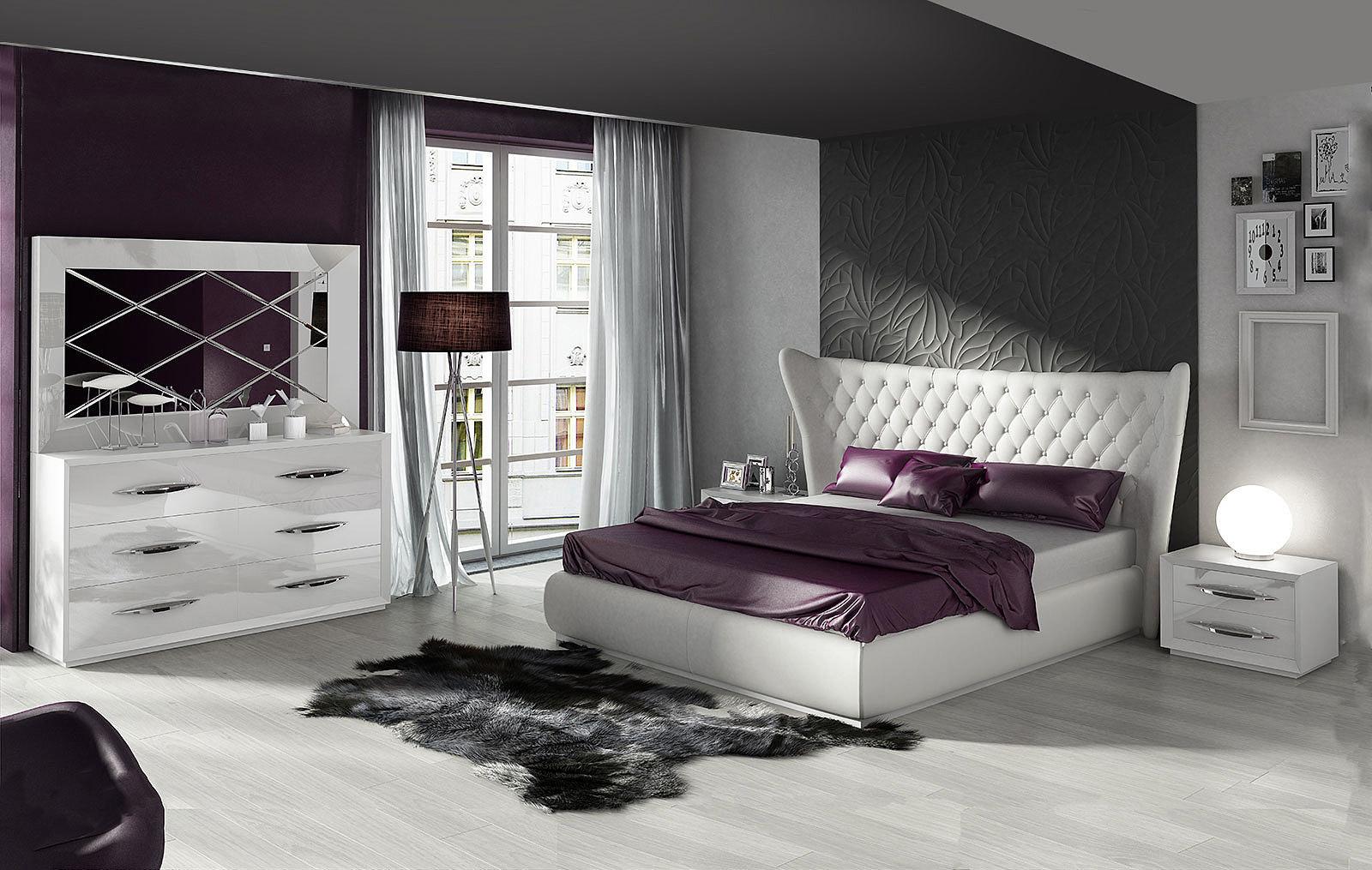 Кровать FRANCO MIAMI белая, тумбочки FRANCO 1016 белая, Комод горизонтальный FRANCO 1026 белый