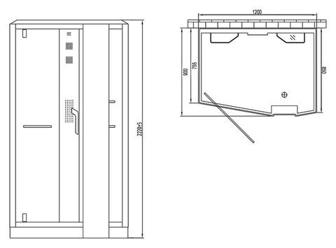 Душевая кабина Orans OLS-SR89105RS white 90х120см. профиль белый, стекло хром правая схема