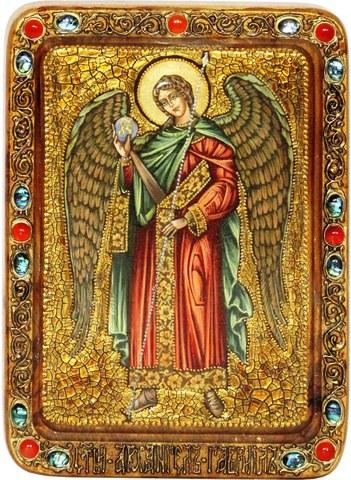 Инкрустированная живописная икона Архангел Гавриил 29х21см на натуральном кипарисе в подарочной коробке